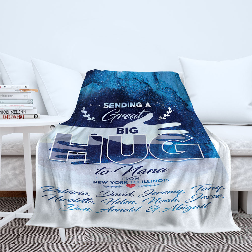 Personalized Great Big Hug to Grandma Blanket