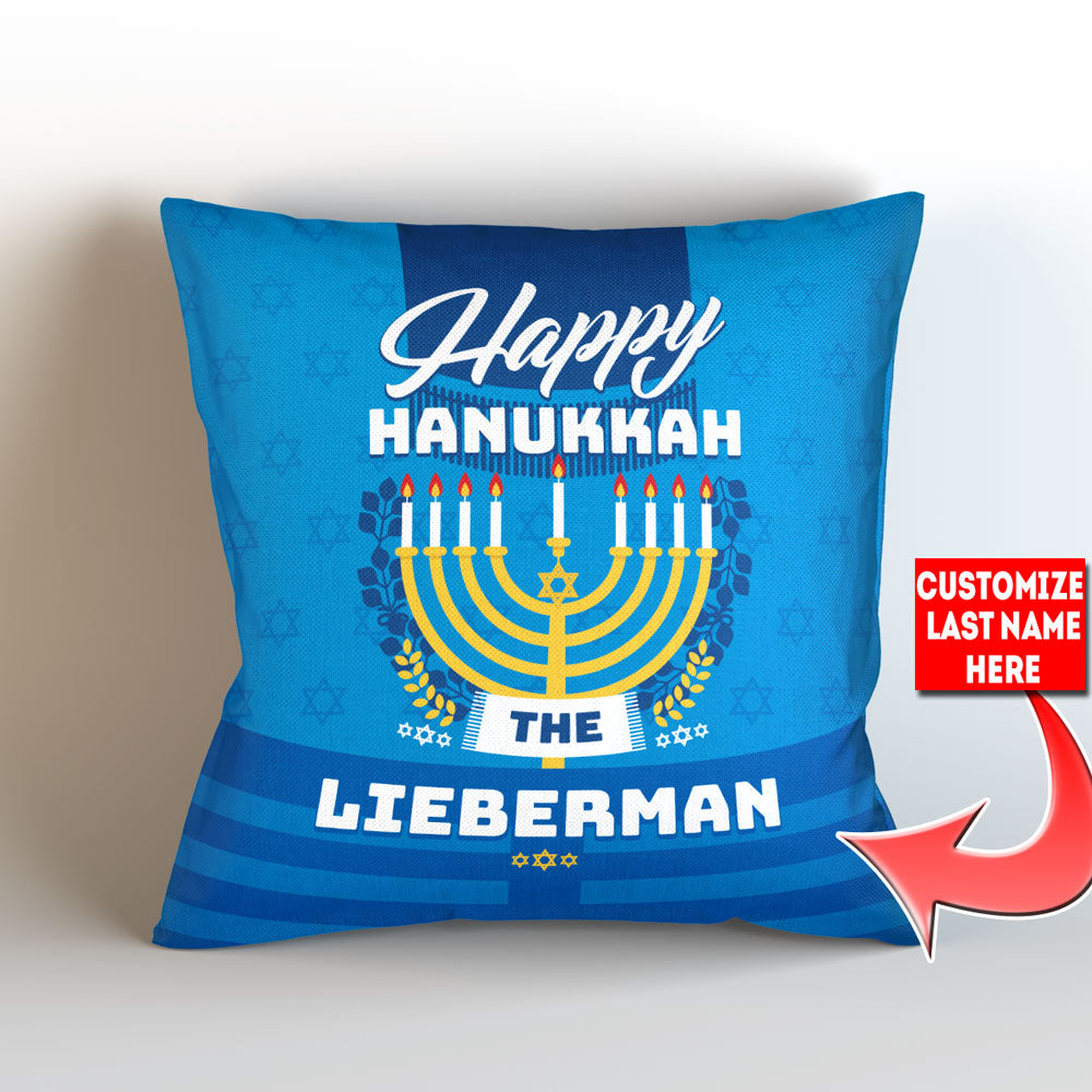 Personalized Happy Hanukkah Throw Pillow Cover