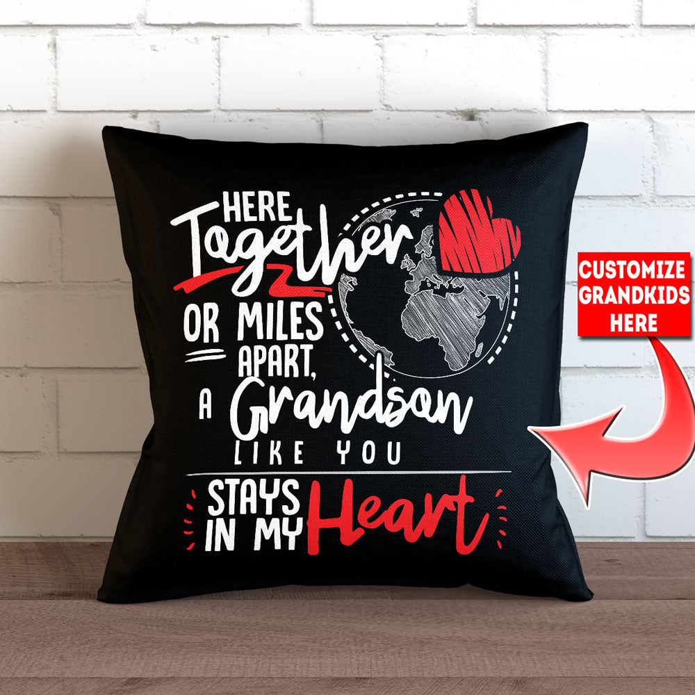 "Personalized Here Together or Miles Apart Pillow Cover - 18"" X 18"""