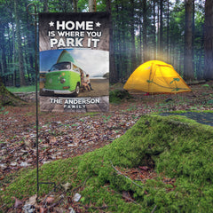 Personalized Home Is Where You Park It Photo Flag