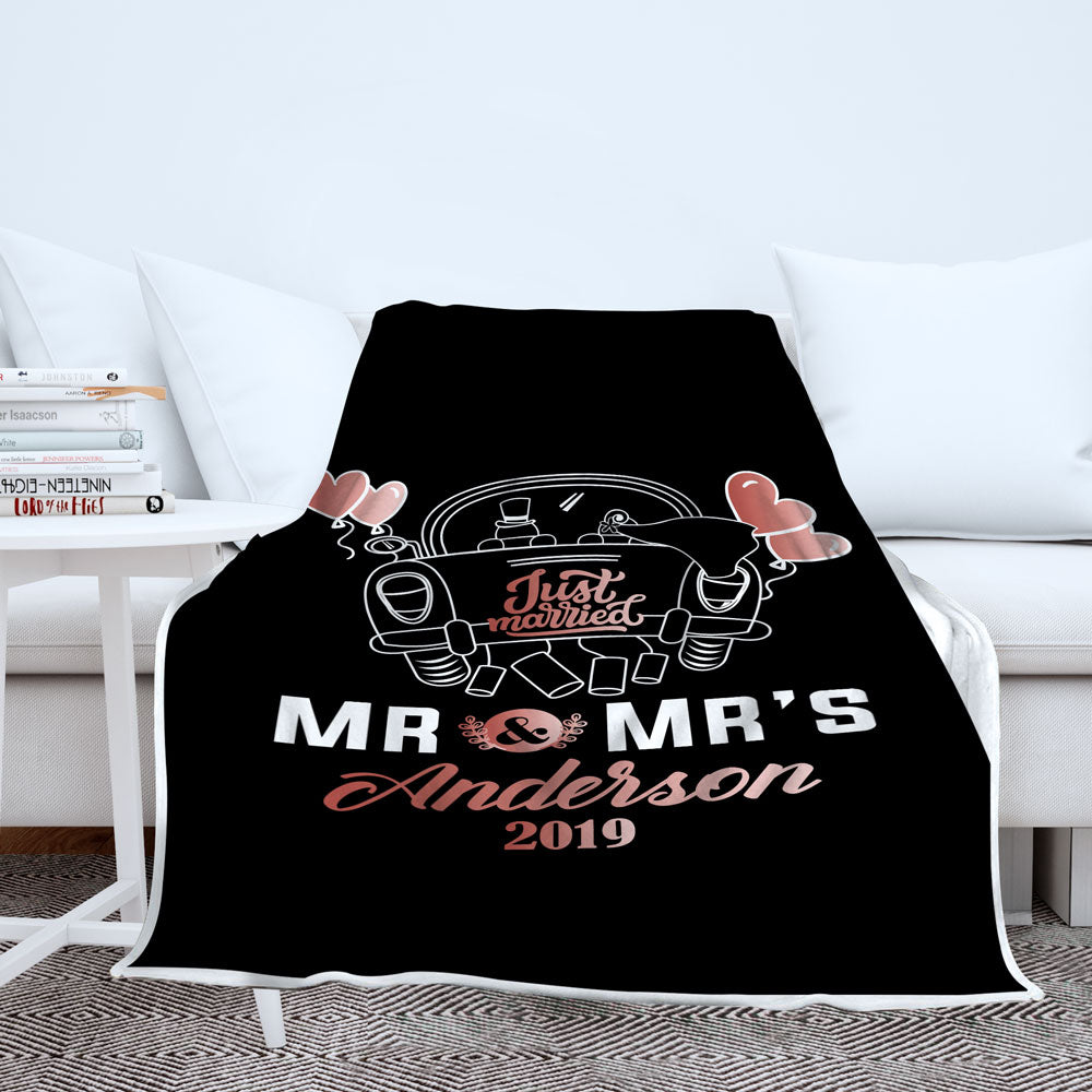 Personalized Just Married Blanket