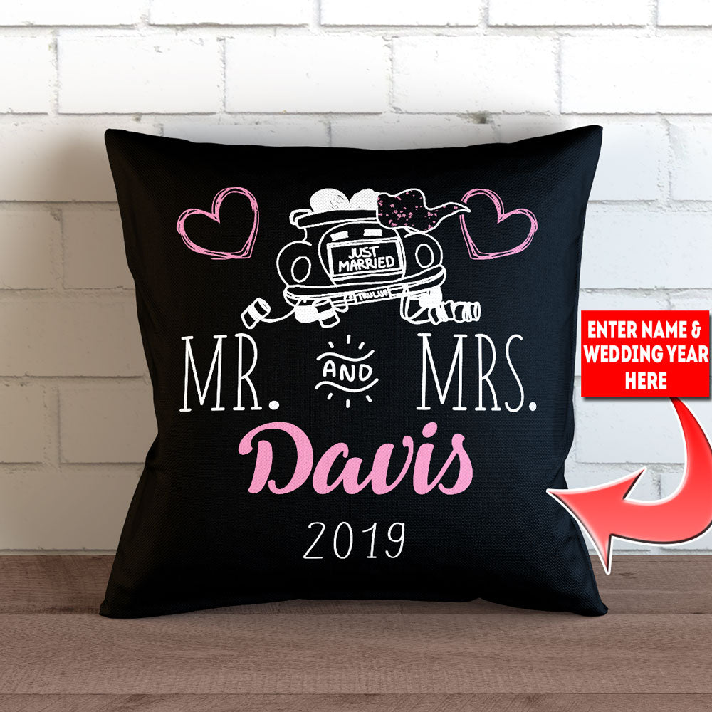 "Personalized Just Married Throw Pillow Cover - 18"" X 18"""