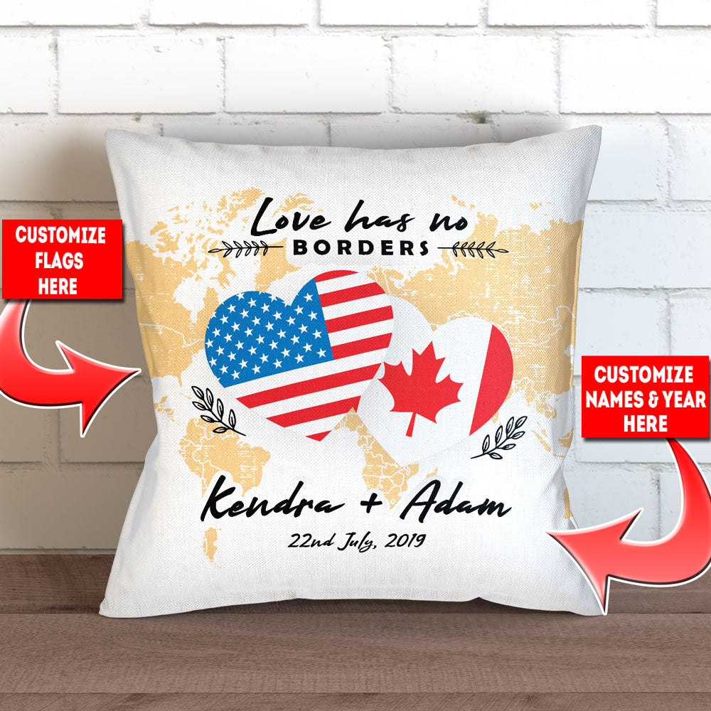 "Personalized Love Has No Borders Throw Pillow Cover - 18"" X 18"""