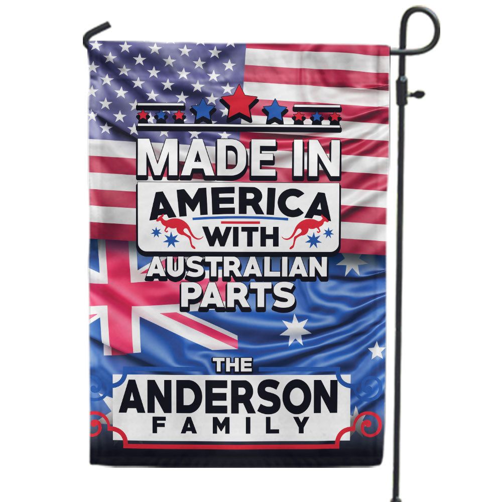 Personalized Made in America With Australian Parts Flag