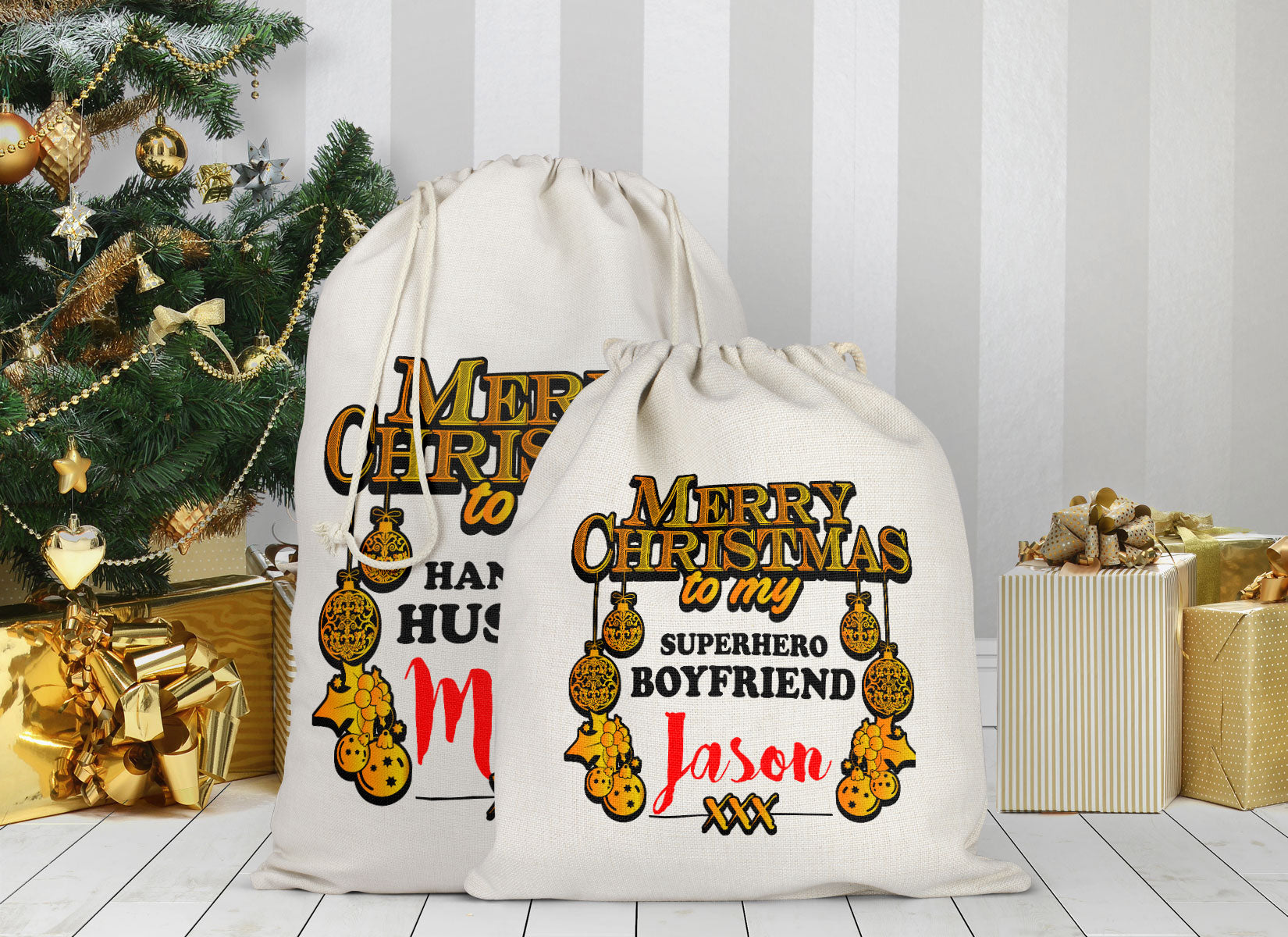 Personalized Merry Christmas Sack Bag
