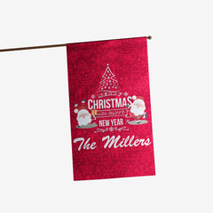 Personalized Merry Christmas & Happy New Year Flag