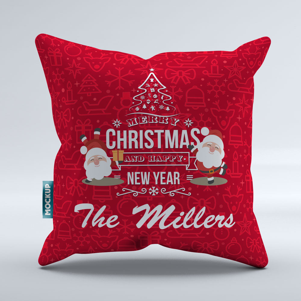 "Personalized Merry Christmas and Happy New Year - Throw Pillow Cover - 18"" X 18"""
