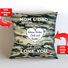 Personalized Camouflage Themed - Whenever You Touch This Throw Pillow Cover - 18