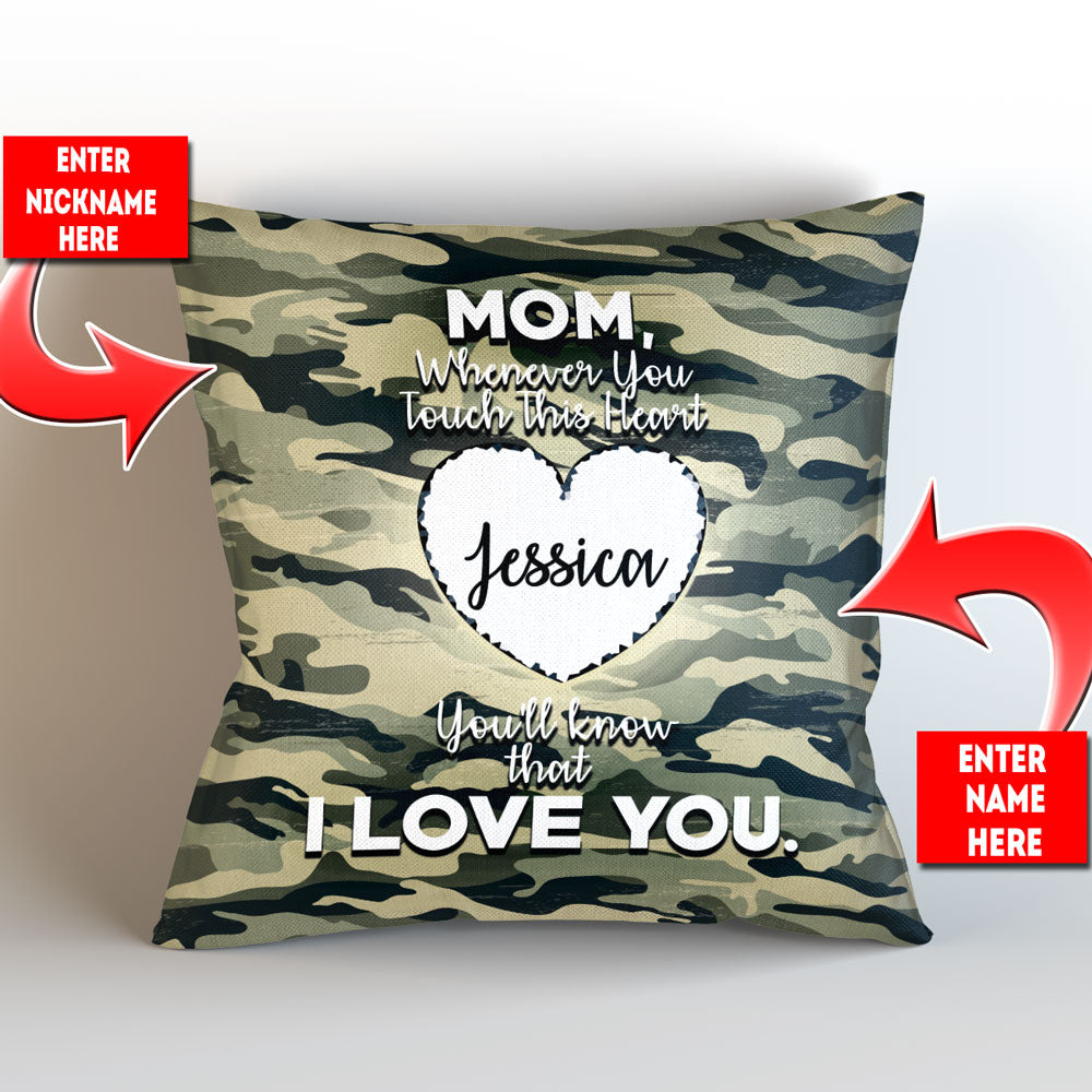 "Personalized Camouflage Themed - Whenever You Touch This Throw Pillow Cover - 18"" X 18"""