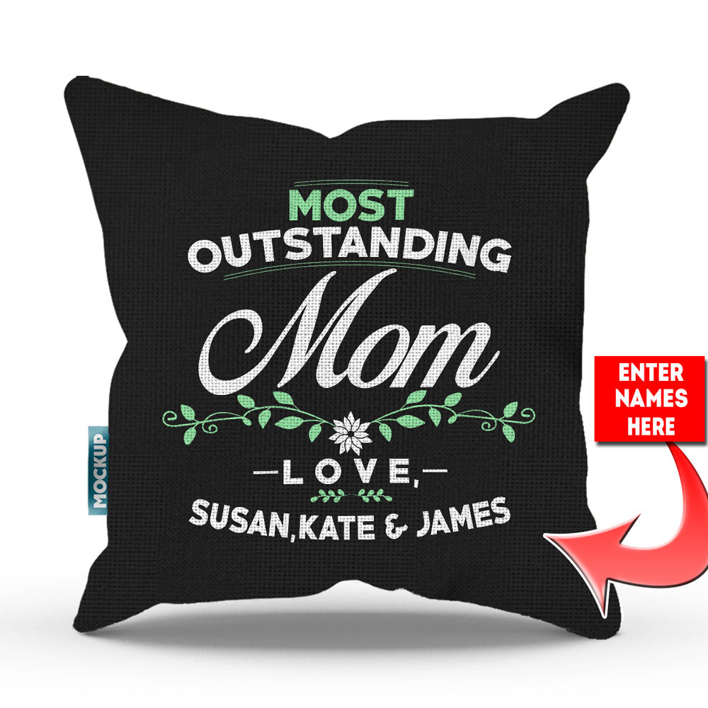 "Personalized Most Outstanding Mom Throw Pillow Cover - 18"" x 18"""