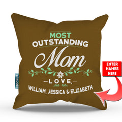 Personalized Most Outstanding Mom Throw Pillow Cover - 18