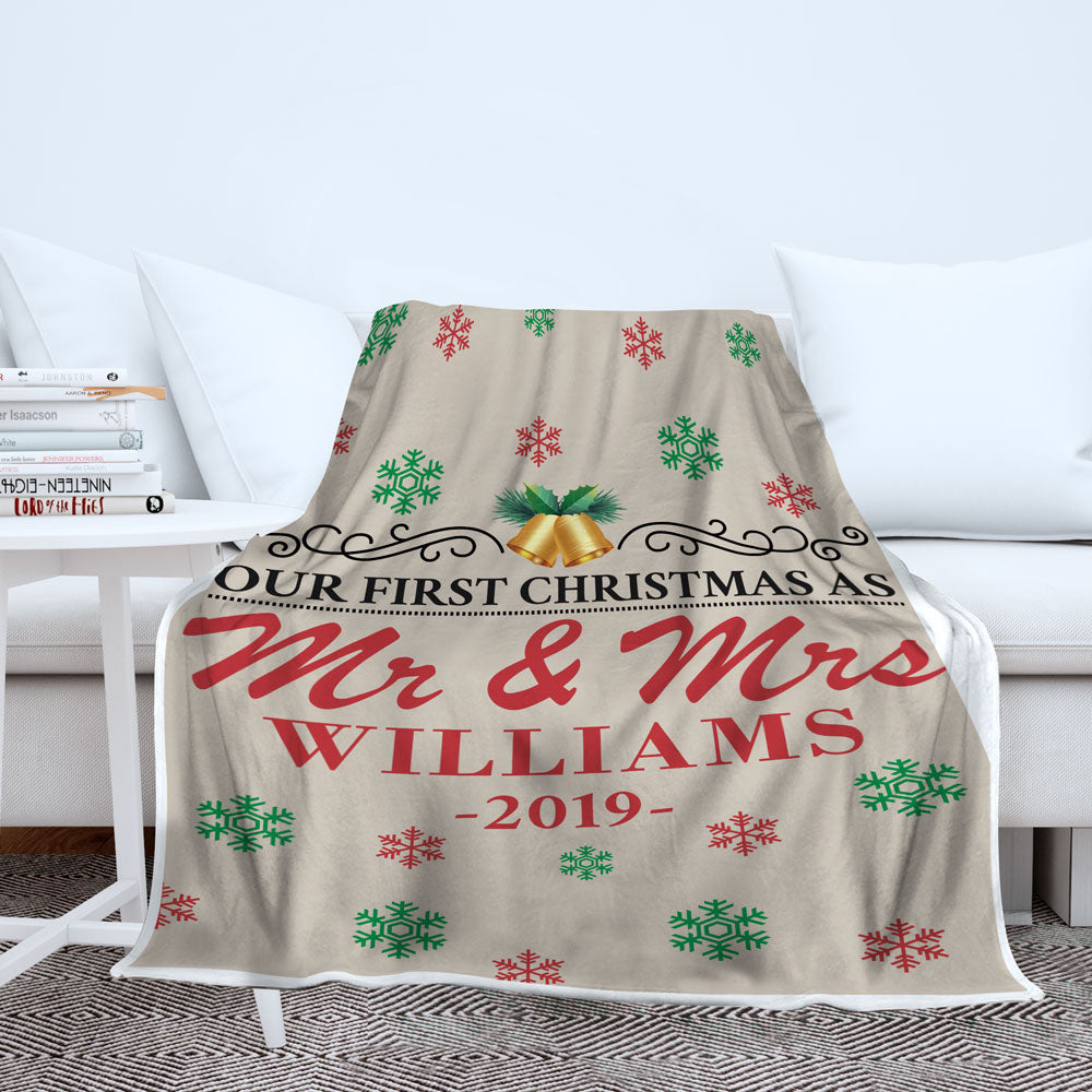 Personalized Our First Christmas As Mr. and Mrs. Blanket - Style 1