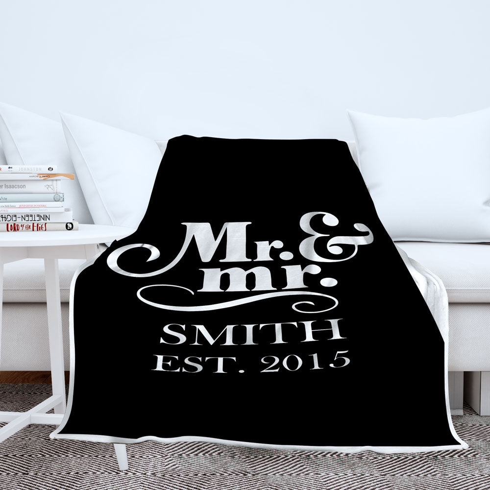 Personalized Mr and Mrs Blanket