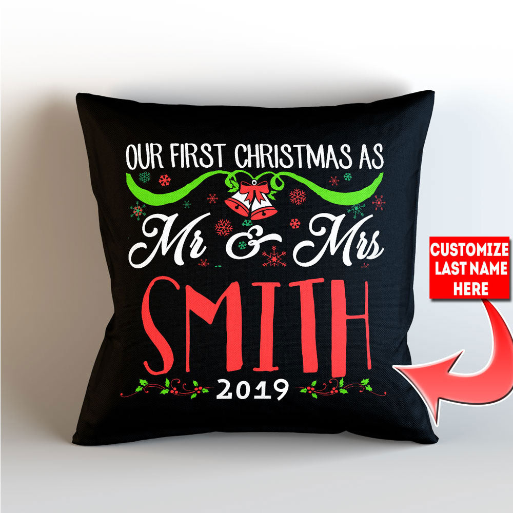 "Personalized Our First Christmas As Mr. and Mrs. -  Throw Pillow Cover - 18"" x 18"" - Style 2"