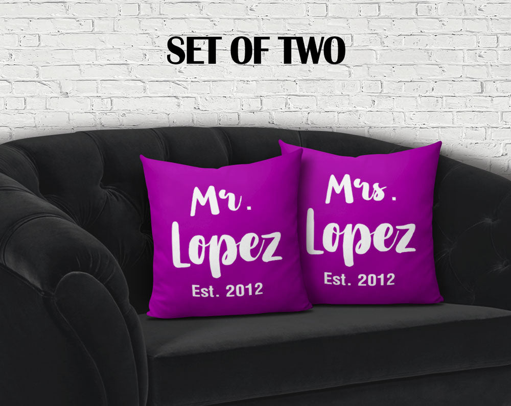 "Personalized Mr and Mrs Throw Pillow Cover Set  - 18"" x 18"""