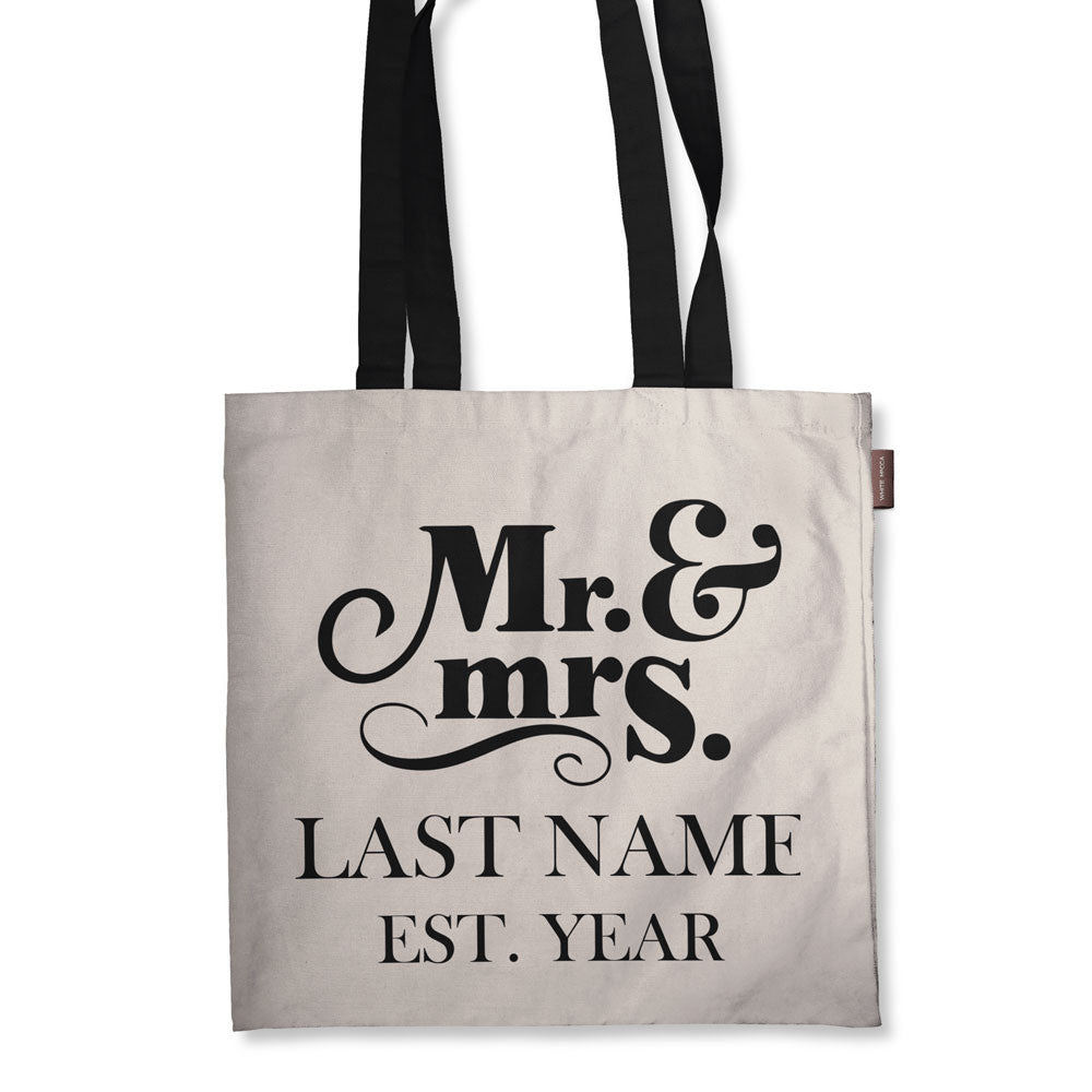 "Personalized Mr and Mrs Tote Bag - 18"" X 18"""