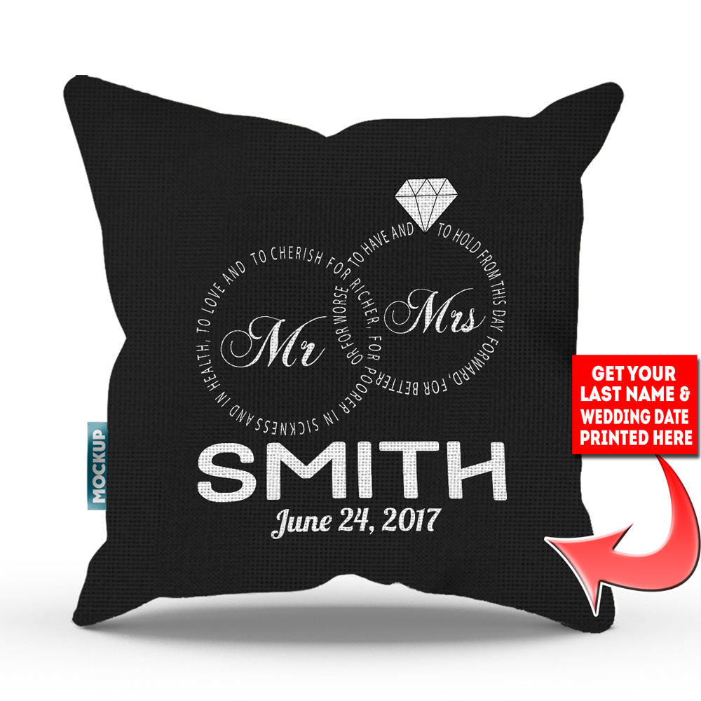 "Personalized Mr and Mrs – Wedding Vows Edition Pillow Cover - 18"" X 18"""