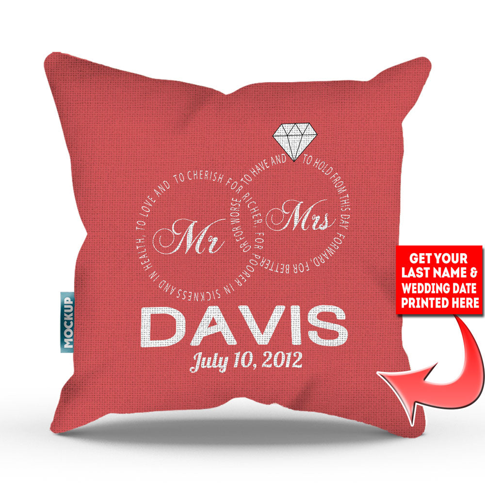 Personalized Mr and Mrs – Wedding Vows Edition Pillow Cover - 18\