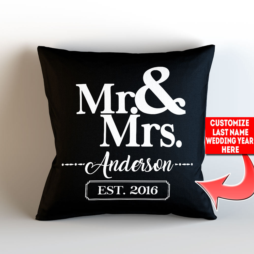 "Personalized Mr and Mrs Throw Pillow Cover – Style 3 - 18"" X 18"""
