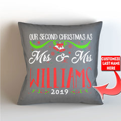 Personalized Our First Christmas As Mr. and Mrs. -  Throw Pillow Cover - 18