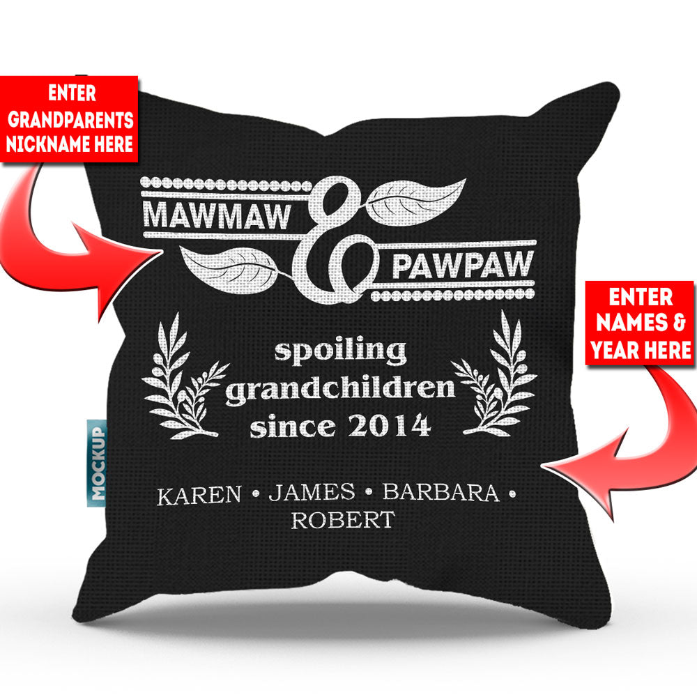 "Personalized Spoiling Grandkids Since Throw Pillow Cover - 18"" X 18"""