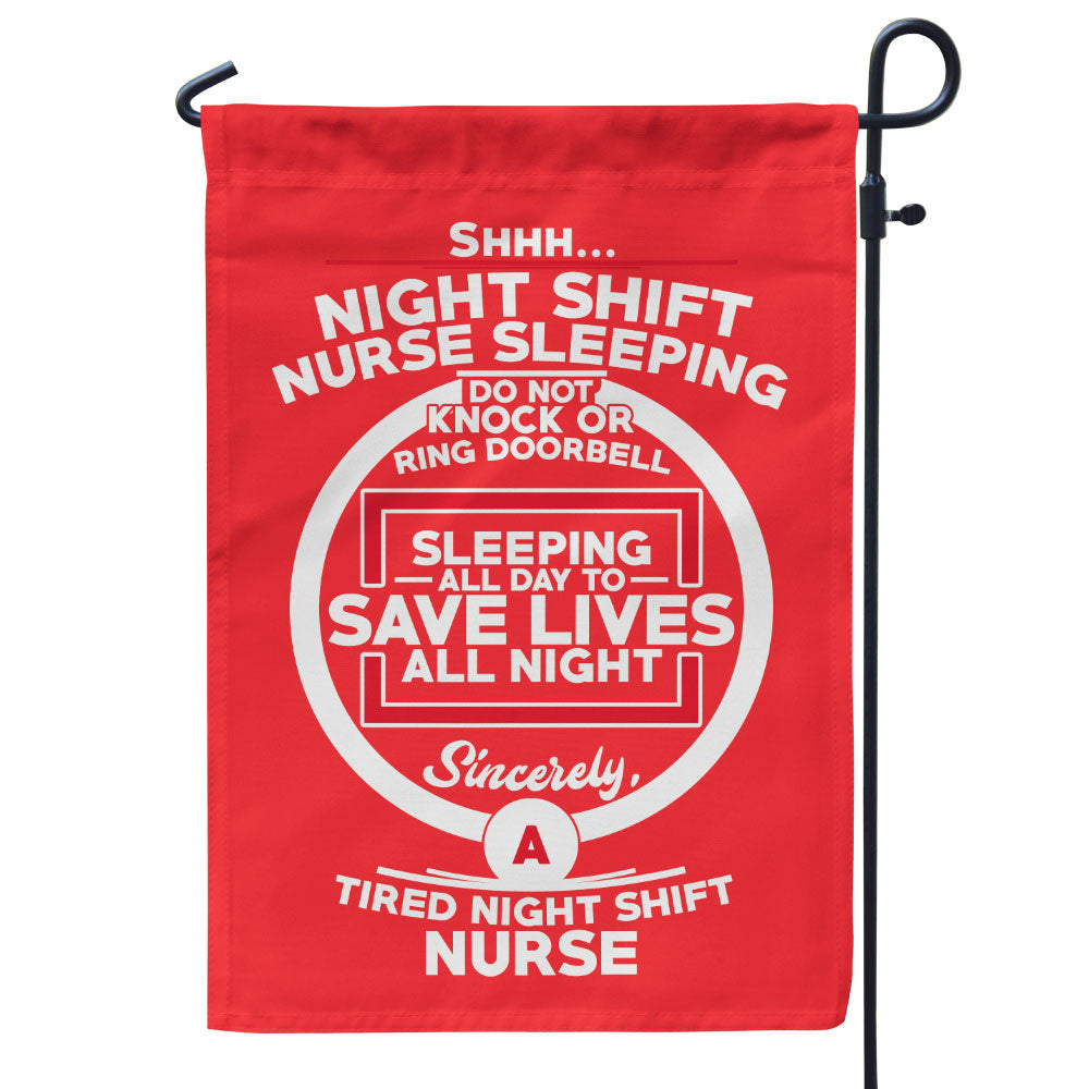 Night Shift Nurse Sleeping Flag