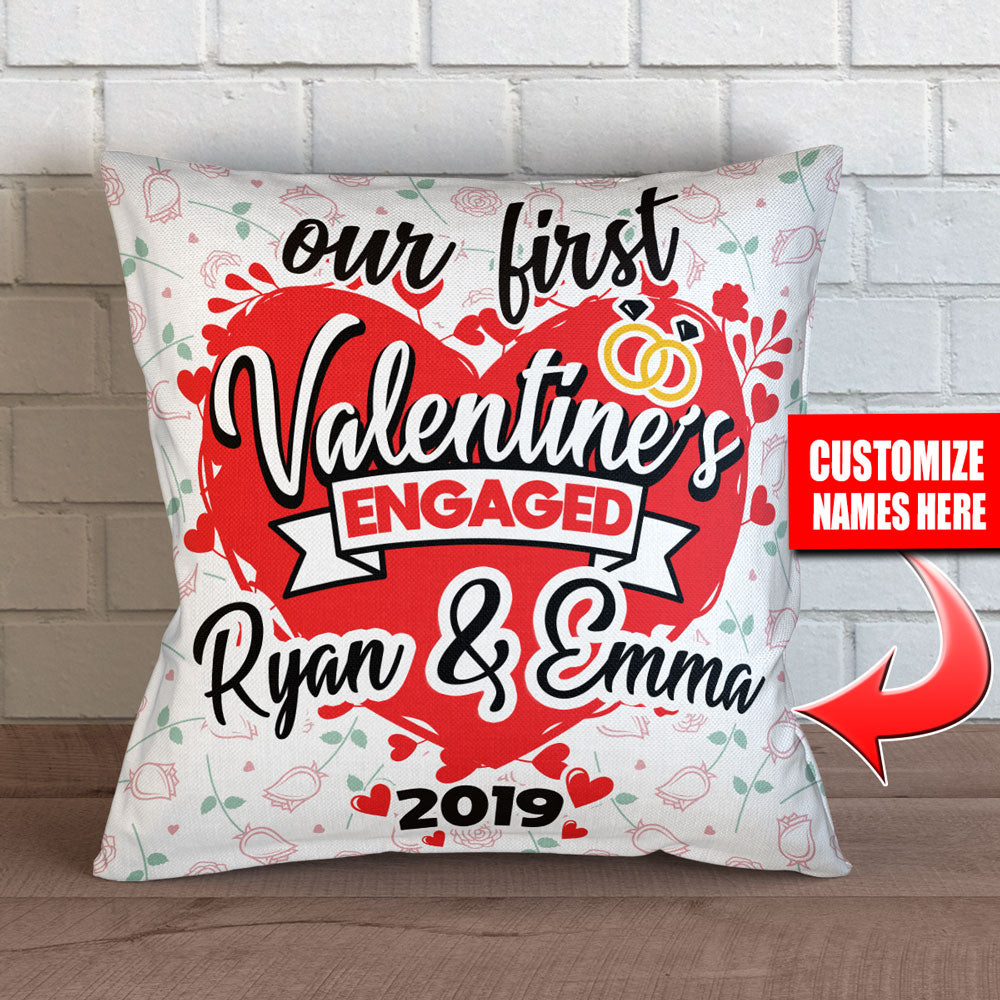 Personalized First Valentines Engaged Throw Pillow Cover – Style 2