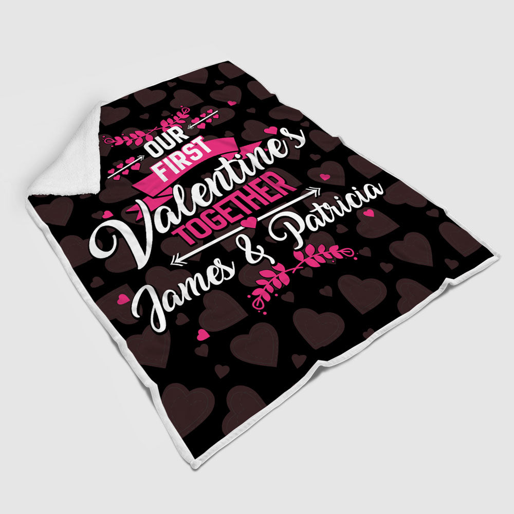 Personalized First Valentine's Together Blanket - Style 2