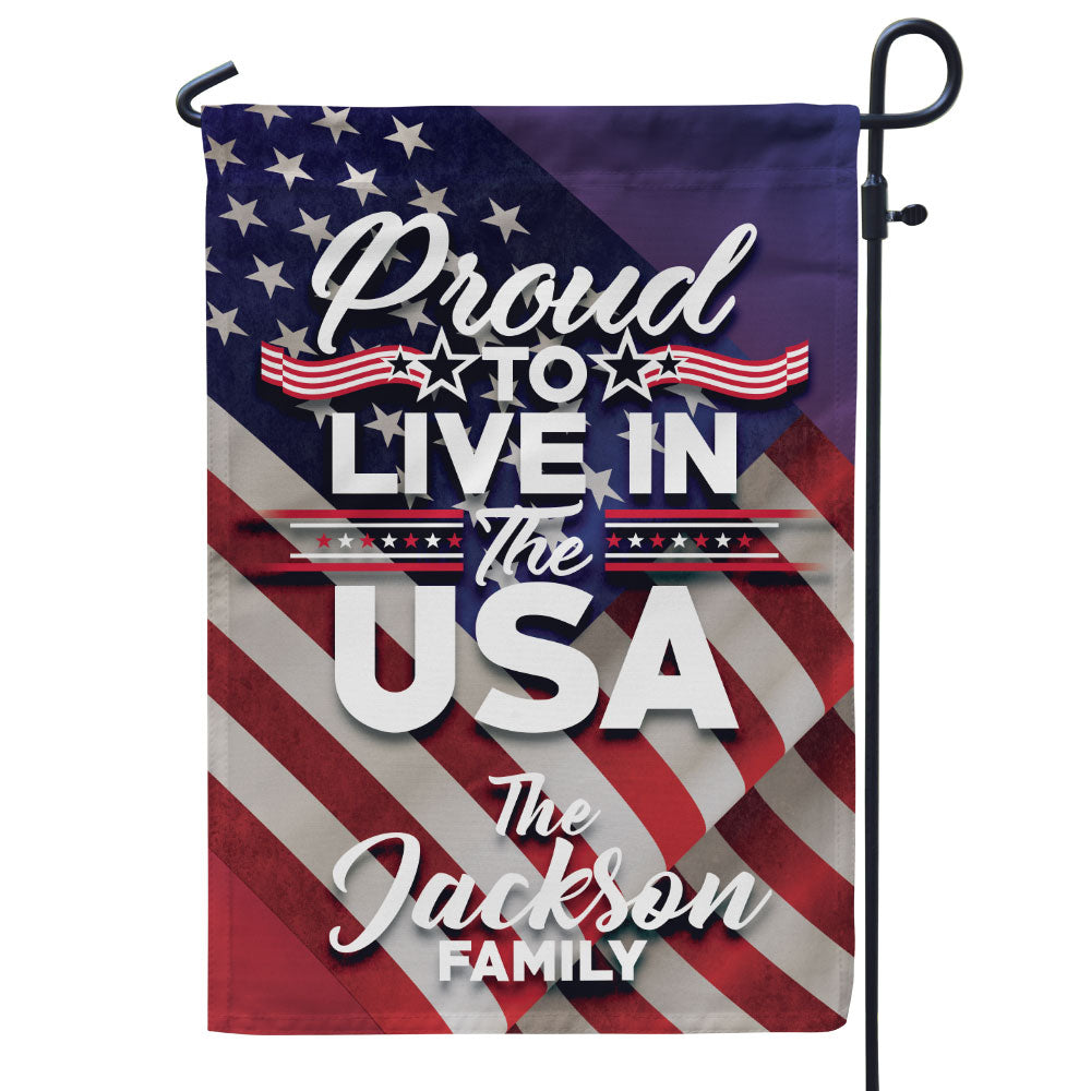 Personalized Proud to Live in The USA Flag