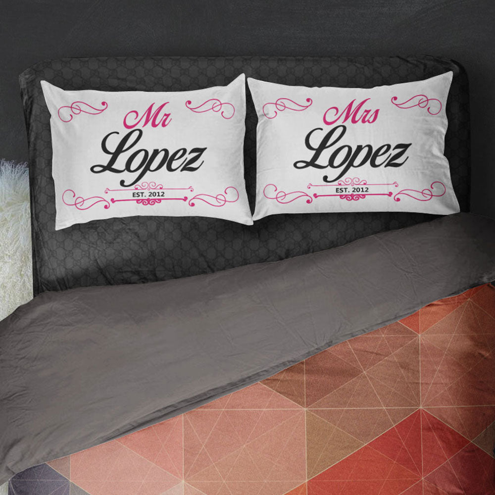 Personalized Mr and Mrs Bed Pillow Cover Set