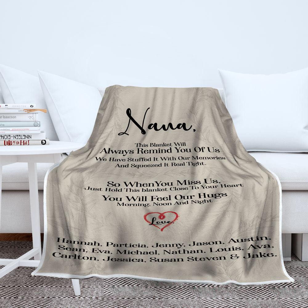 Personalized Grandma This Blanket Will Always Remind You Of Us Blanket