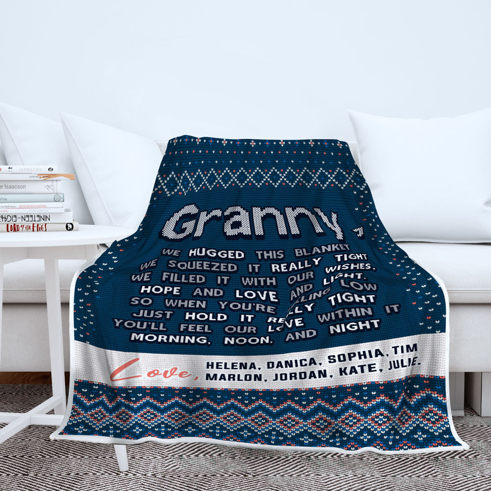 Personalized Grandma We Hugged This - Ugly Christmas Sweater Style Blanket