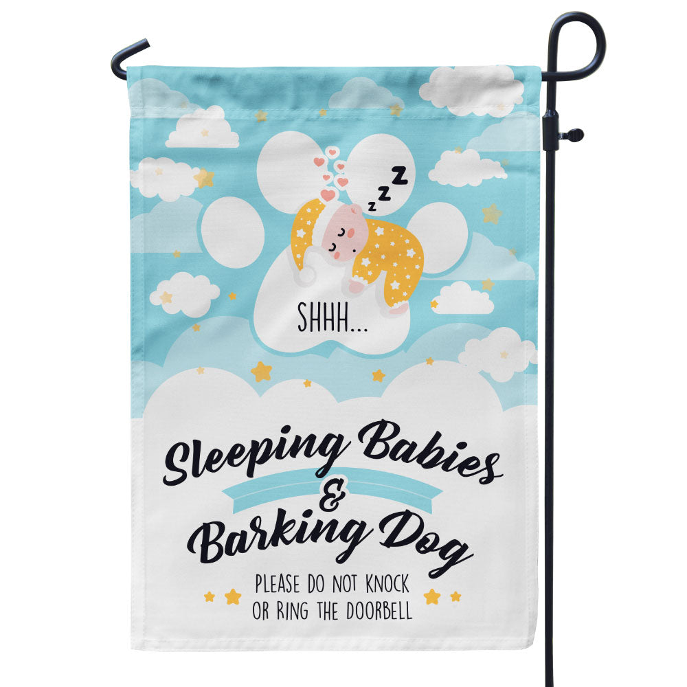 Sleeping Baby Barking Dog Flag