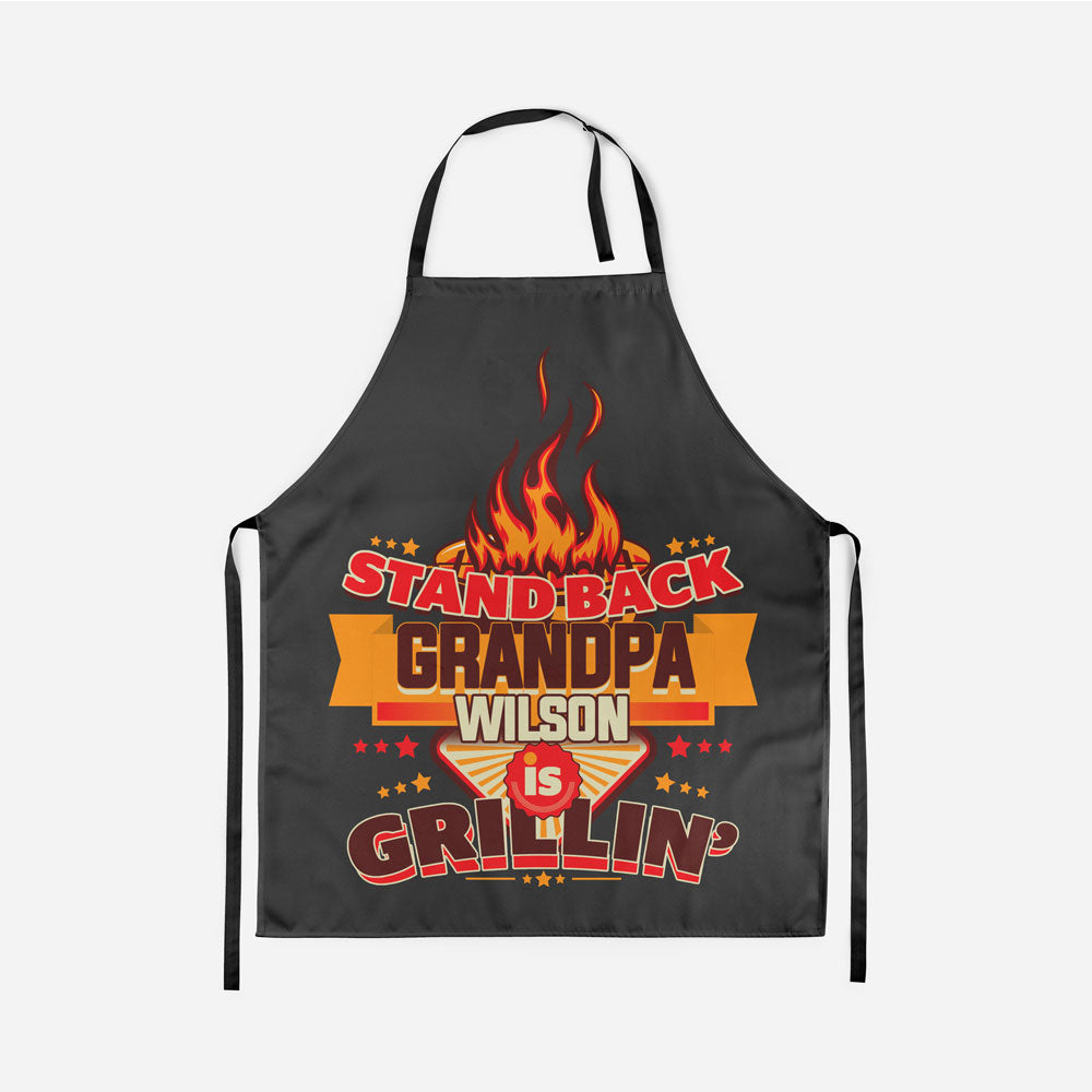 Personalized Stand Back Grandpa is Grilling Apron