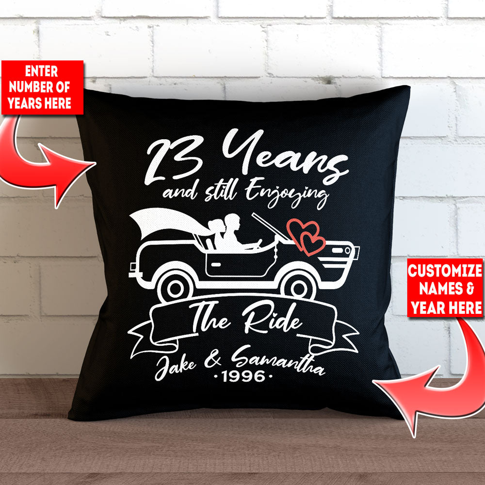 "Personalized Still Enjoying The Ride Throw Pillow Cover - 18"" x 18"""