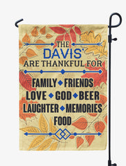 Personalized Thankful Family Flag