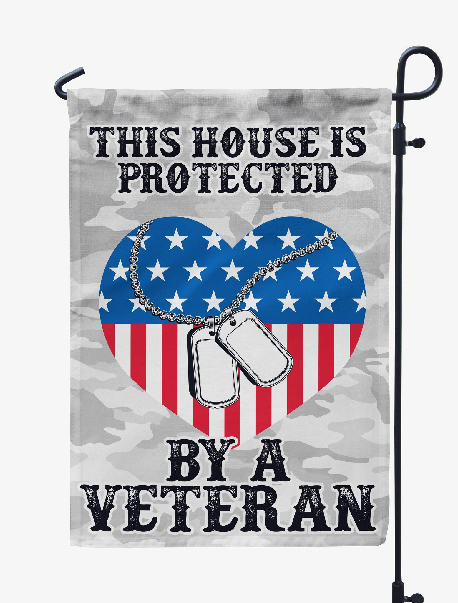 This House/Our Family is Protected by a Veteran- Dog Tag Flag
