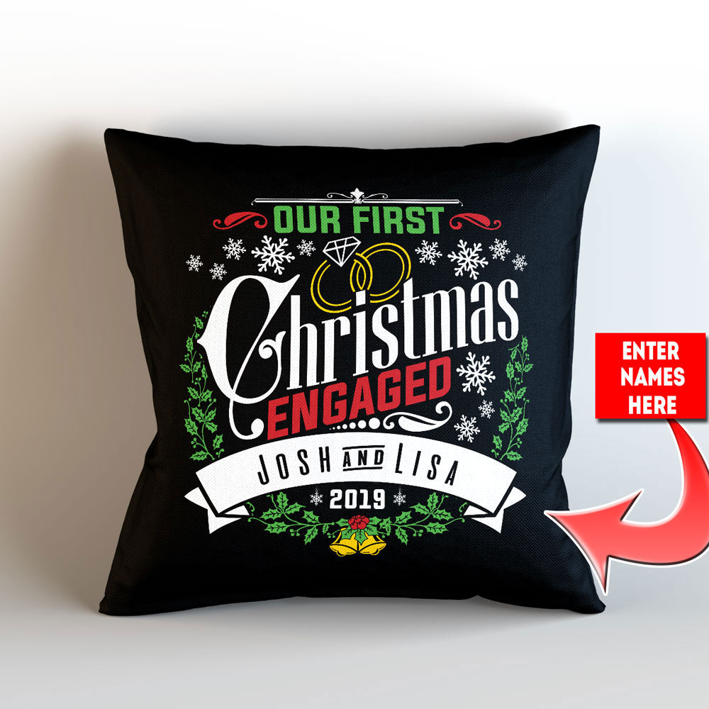 "Personalized Our First Christmas Engaged Throw Pillow Cover – 18"" x 18"" - Style 2"
