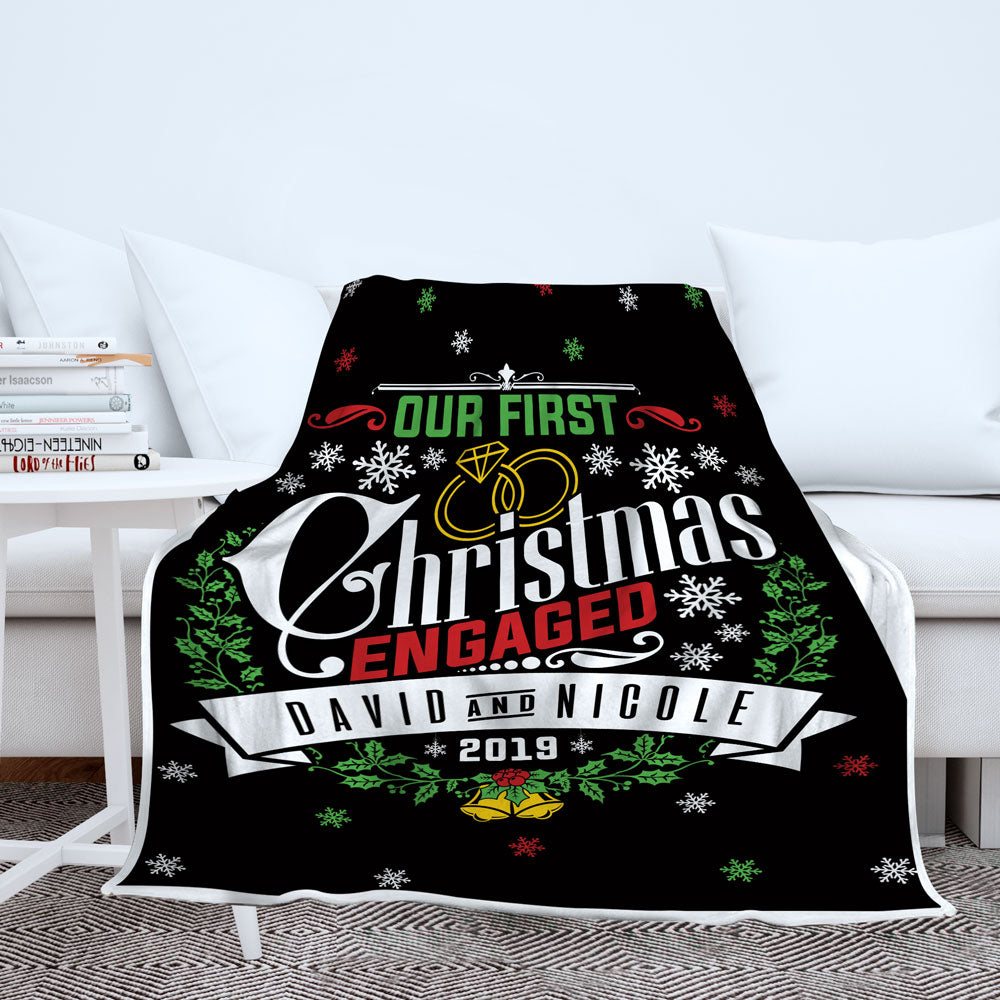 Personalized Our First Christmas Engaged - Blanket - Style 2