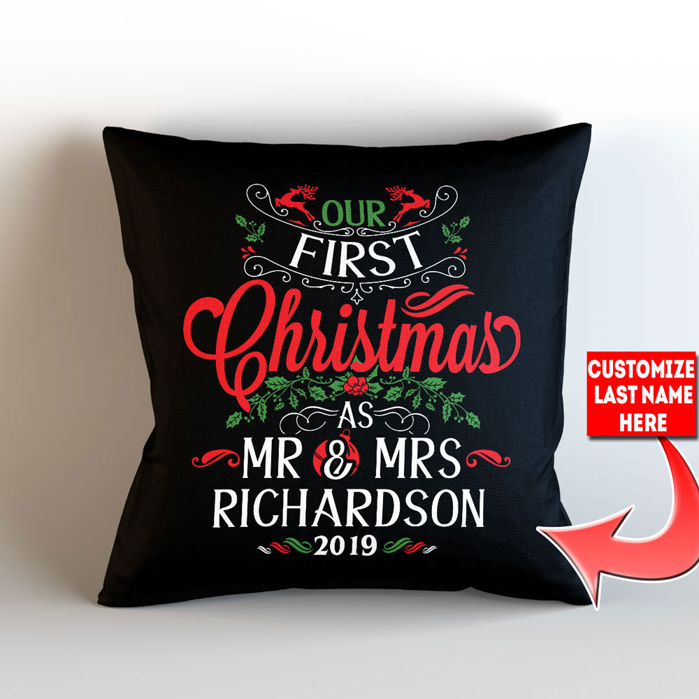 "Personalized Our First Christmas As Mr. and Mrs. Throw Pillow Cover - 18"" x 18"" - Style 3"