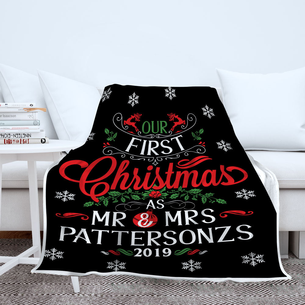 Personalized Our First Christmas As Mr. and Mrs. Blanket - Style 3