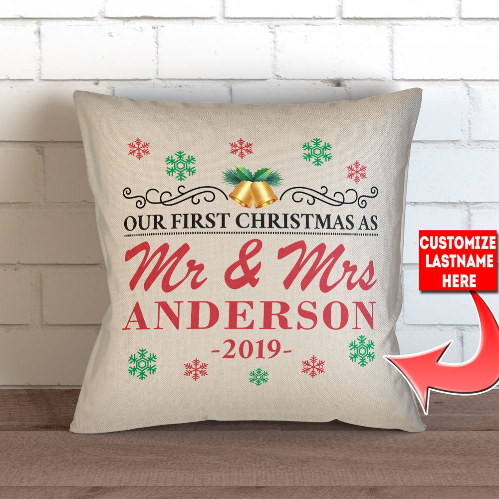 "Personalized Our First Christmas As Mr. and Mrs. -  Throw Pillow Cover - 18"" x 18"" - Style 1"