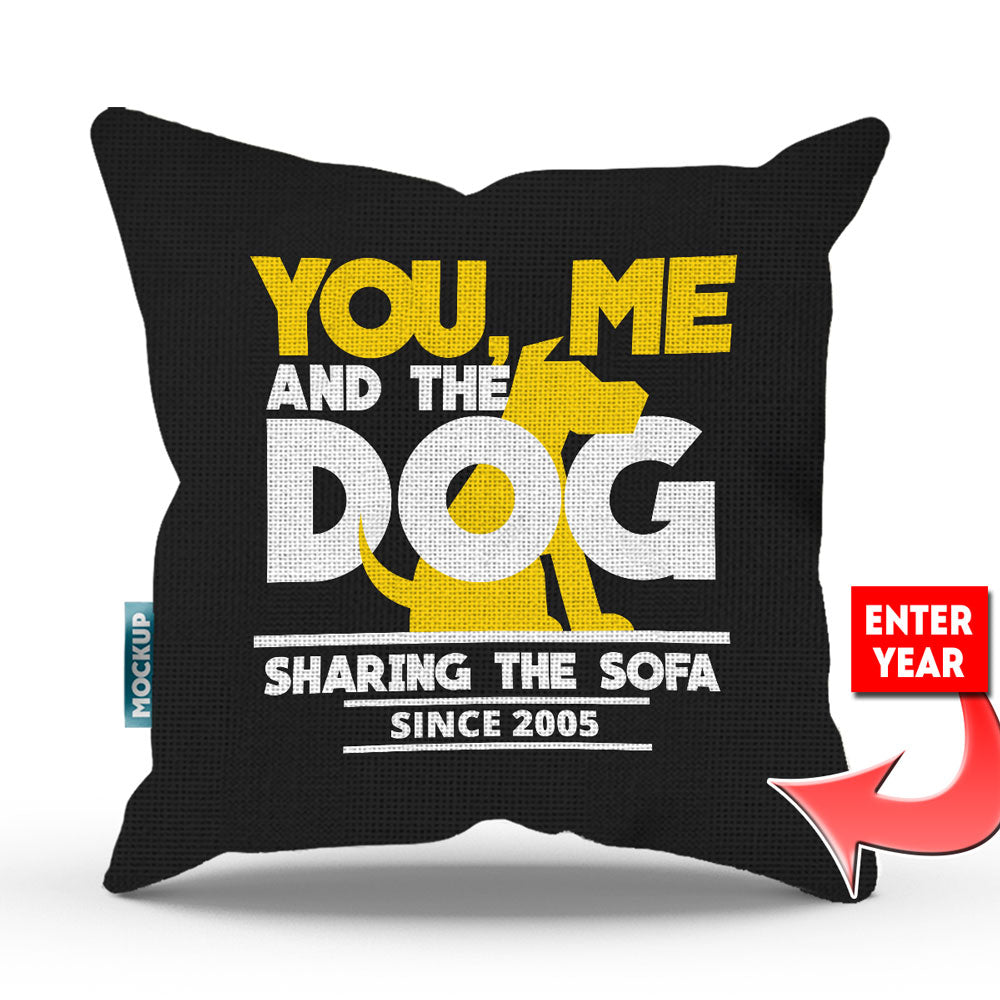 "Personalized You Me and the Dog Sharing Sofa Throw Pillow Cover - 18"" X 18"""