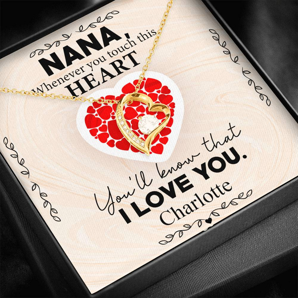 Personalized Grandma Whenever You Touch This Heart - Forever Love Necklace