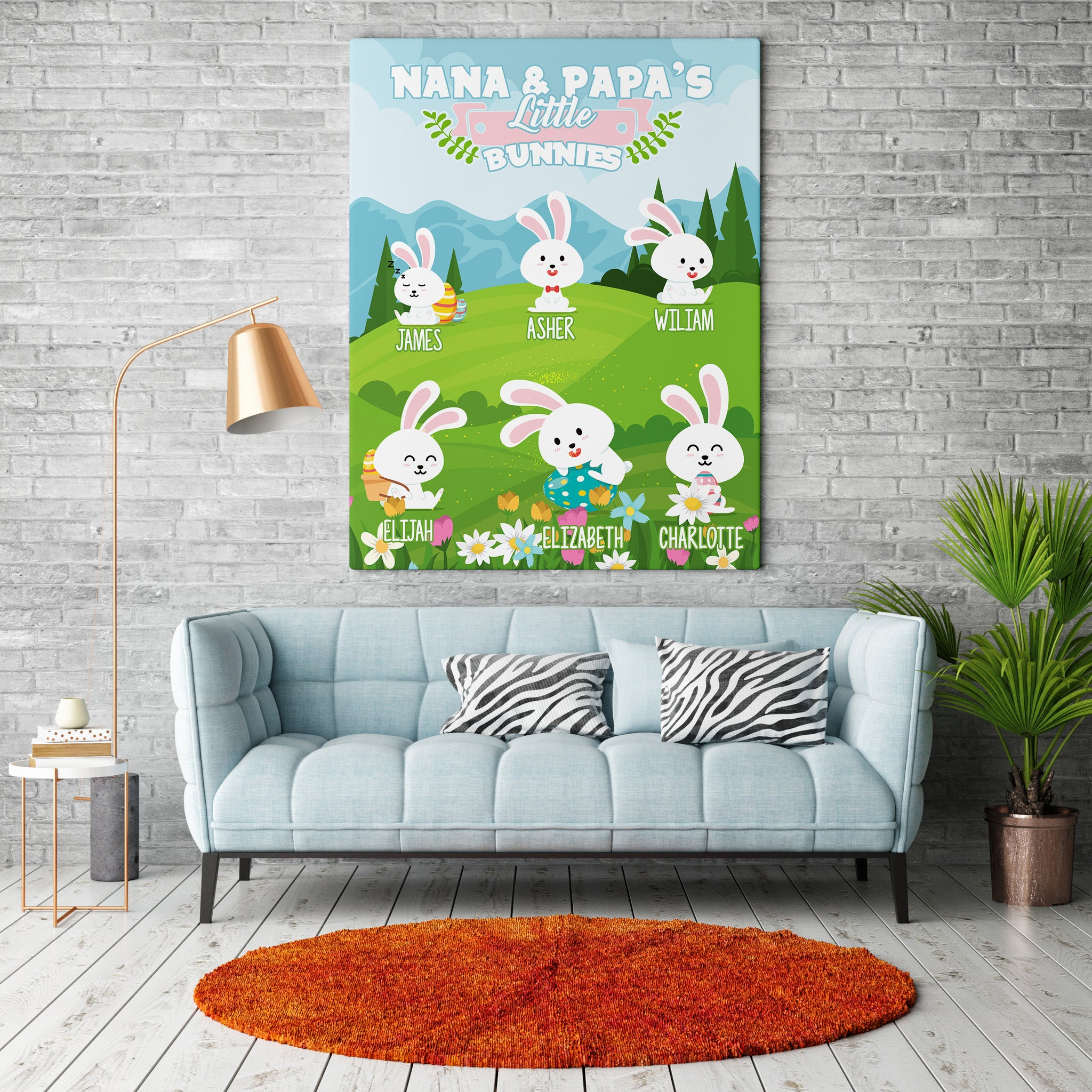 Personalized Grandma's Little Bunnies - Easter Canvas