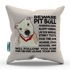Beware of Pit Bull Throw Pillow Cover - 18