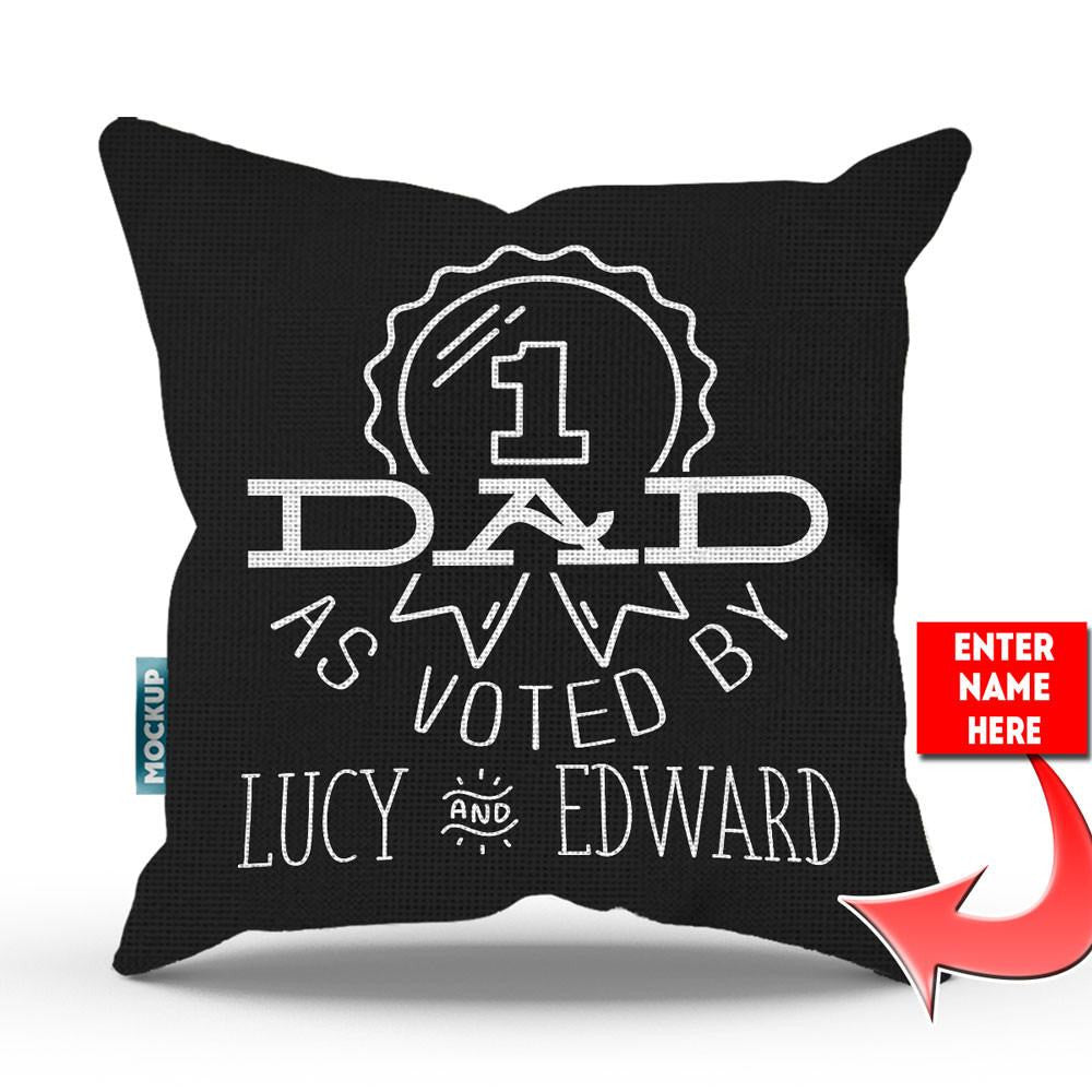 "Personalized #1 Dad As Voted Throw Pillow Cover - 18"" X 18"""