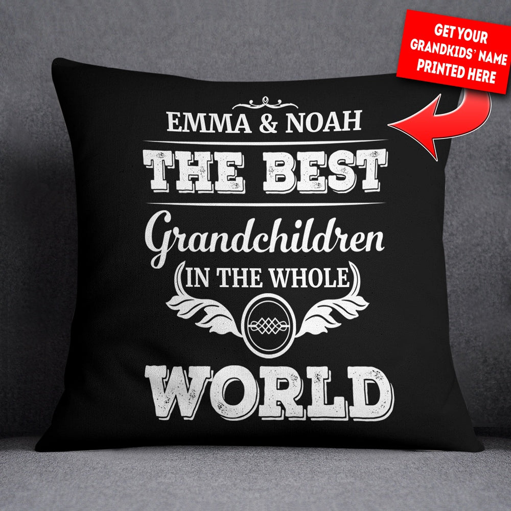 Personalized Best Grandchildren In The World Pillowcover Throw