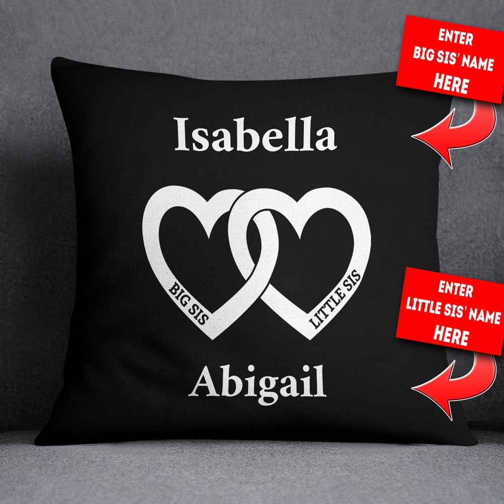 "Personalized Big Sis Little Sis Heart Throw Pillow Cover - 18"" X 18"""