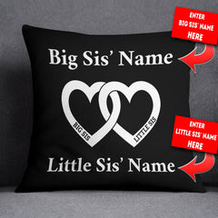 Personalized Big Sis Little Sis Heart - Throw Pillow Cover - 18